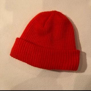 ハイドアンドシーク(HIDE AND SEEK)のニット帽 オレンジ hideandseek (ニット帽/ビーニー)