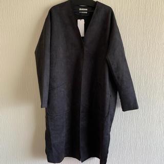 新品タグ付き*マンサール ノーカラー Vネック ロングコート 黒 オーバーサイズ