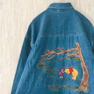 ディズニー(Disney)のused 古着 vintage くまのプーさん 刺繍 デニムシャツ ディズニー(シャツ/ブラウス(長袖/七分))