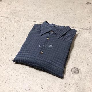 [used]dark navy silk blend shirt.(シャツ)