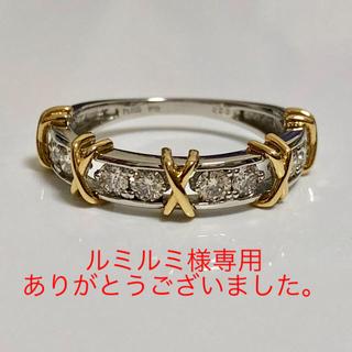 PT950/K18 ハートカード付きダイヤリング(リング(指輪))