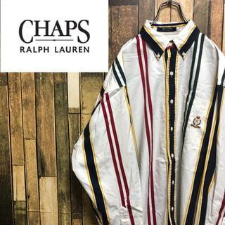【激レア】チャップスラルフローレン☆刺繍ロゴマルチストライプBDシャツ 90s