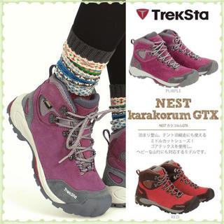 トレクスタ(Treksta)の【新品】TrekStaトレッキングシューズ(レッド)/23.0cm(登山用品)