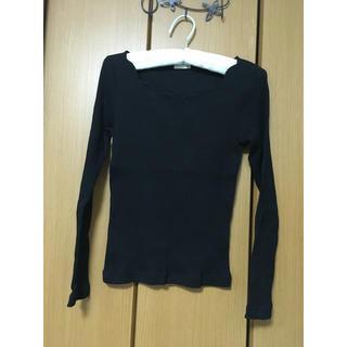 ジーユー(GU)のロンT  飾り襟  黒(Tシャツ(長袖/七分))