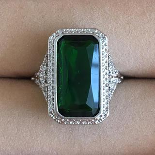 (105)スクエアのエメラルドカラーのリング シルバー ヴィンテージ(リング(指輪))