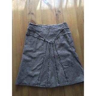 アッシュペーフランス(H.P.FRANCE)のフランス製スカート 新品未使用 ヘリンボーン(ひざ丈スカート)