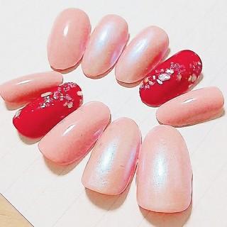 ♡100【現品限り】桜舞うシェル春色ネイルチップ(ネイルチップ)