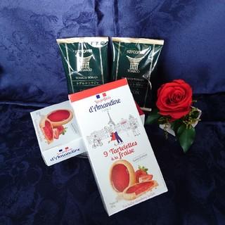 フランス便りおやつセット「苺のタルトレット2箱(18枚)+ドリップコーヒー2杯」(菓子/デザート)
