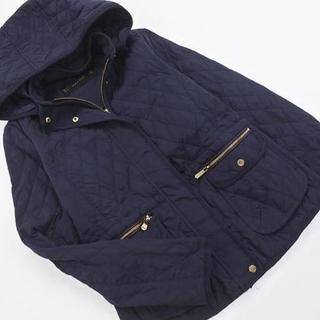ザラ(ZARA)のZARA basic ザラ ベーシック キルティング ジャケット sizeS/紺(ナイロンジャケット)