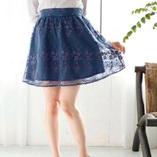 ワンアフターアナザーナイスクラップ(one after another NICE CLAUP)のオーガンジー刺繍スカート(ミニスカート)
