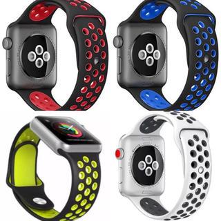 人気スポーツバンド (Apple Watch 42mm, ブラック+ブルー) (腕時計(デジタル))