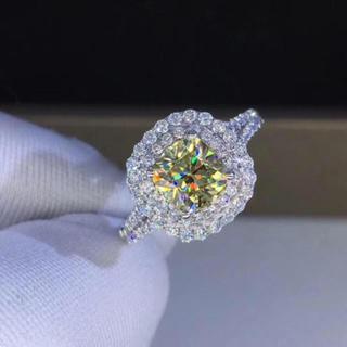 【1カラット】輝く イエロー モアサナイト ダイヤモンド リング(リング(指輪))
