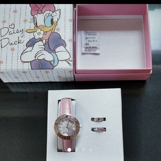 ディズニー(Disney)の新品 ディズニー デイジー 時計 ピンク 指輪 アクセサリー 小物(腕時計)
