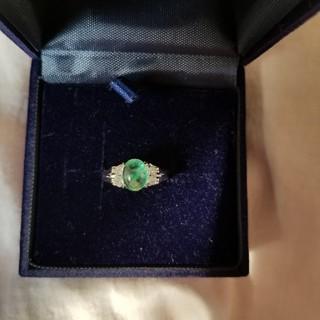 シルバーリング 925刻印あり 10、5号 アンティーク グリーンの石付き(リング(指輪))