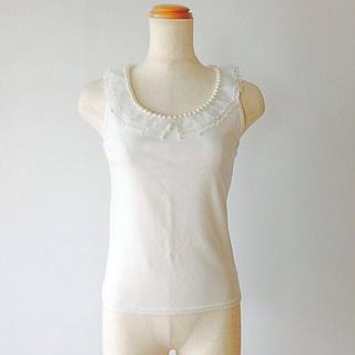リズリサ(LIZ LISA)の♡パールオーガンジー襟ノースリーブ♡(カットソー(半袖/袖なし))