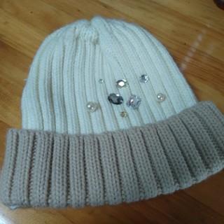 ジエンポリアム(THE EMPORIUM)のTHE EMPORIUM ニット帽 ビジュー(ニット帽/ビーニー)
