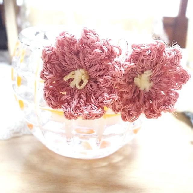 ふんわり桜ピアス ハンドメイドのアクセサリー(ピアス)の商品写真