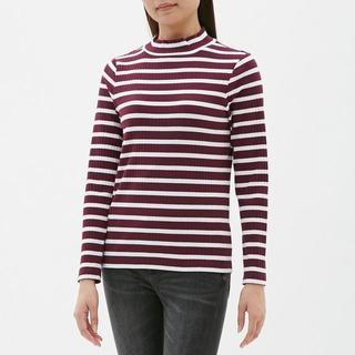 ジーユー(GU)のボーダーハイネックT(長袖)BB GU ジーユー レッド(Tシャツ(長袖/七分))