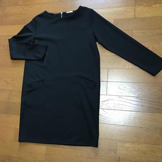ジーユー(GU)のGU ワンピース レディース チュニック スカート ロング丈 黒 新品 Mサイズ(ミニワンピース)