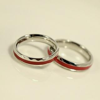 名入れ無料 平仮名 漢字可  レッドライン ペア リング 2個 (リング(指輪))