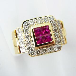 K18 ルビー ダイヤモンド ベルト リング 15号[f384-1] (リング(指輪))