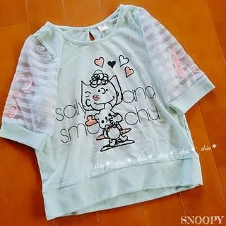 スヌーピー(SNOOPY)の【lady's】袖シースルー スヌーピー プリント 半袖Tシャツ M(Tシャツ(半袖/袖なし))