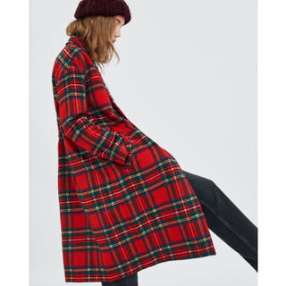 完売品 ザラ チェック柄 コート ジャケット ダブルブレスト 赤 ガウン ブーツ