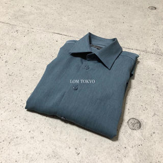 [used]navy blue polyester shirt.(シャツ)