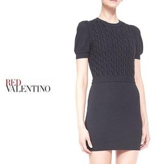 レッドヴァレンティノ(RED VALENTINO)のレッドバレンティノ ベルベットリムニットドレス(ミニワンピース)