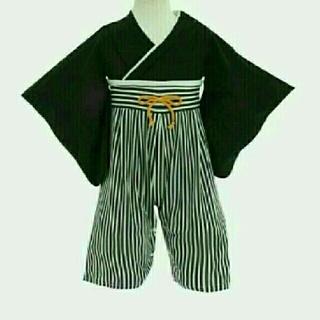 袴ロンパース黒 90と足袋風靴下白✖黒12-15(和服/着物)
