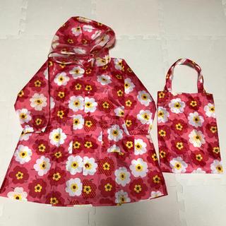 レインコート 女の子 子供用 花柄 S 丸高衣料 リュック対応