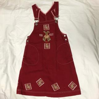 ピンクハウス(PINK HOUSE)のキッズ古着 BABY PINKHOUSE 赤 うさぎ ジャンパースカート (ワンピース)