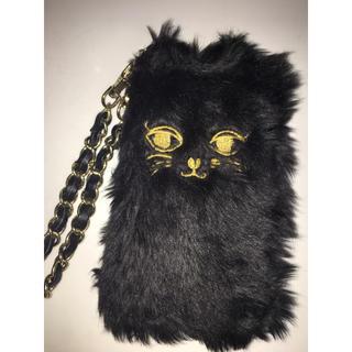 セシルマクビー(CECIL McBEE)のCECIL Mc BEE❣️iPhone手帳型カバーケース🐱💗ボア黒猫(iPhoneケース)