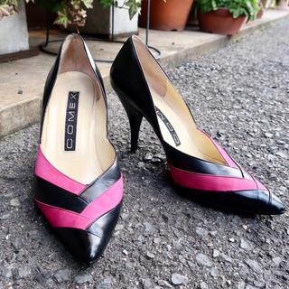 コメックス comex パンプス 靴 ピンヒール 黒 ピンク 23cm
