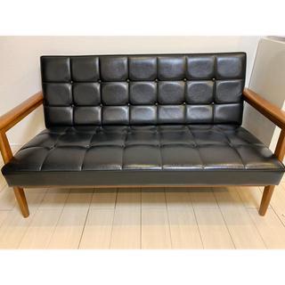 カリモクカグ(カリモク家具)のカリモク60 kチェア 2シーター ブラック 黒 (二人掛けソファ)