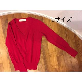 ザラ(ZARA)のZARA Vネックスプリングニット 赤 Lサイズ(ニット/セーター)
