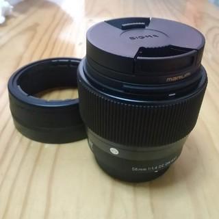 シグマ(SIGMA)の美品 SIGMA 56mm f1.4 DC DN+マルミEXUS高級フィルター(レンズ(単焦点))