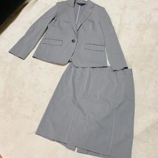 fe656743c0dec8 インディヴィ(INDIVI)のINDIVI インディヴィ ピンストライプ スカートスーツ 2点セット グレー(