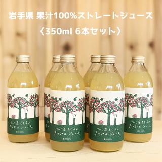 果汁100% ストレートアップルジュース 350ml×6本(ソフトドリンク)