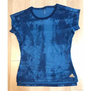 アディダス(adidas)のアディダスadidas テニスウェア 総柄Tシャツ ブルー レディースL(ウェア)