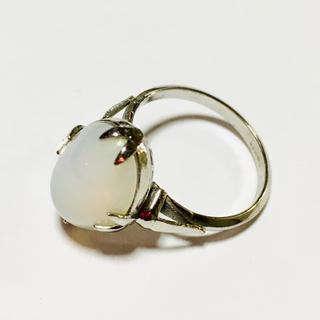 ホワイト*天然石*シルバーリング/未使用(リング(指輪))