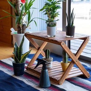 アカシア 折りたたみ 2段 ラック 棚 サイドテーブル おしゃれ 木製(棚/ラック/タンス)