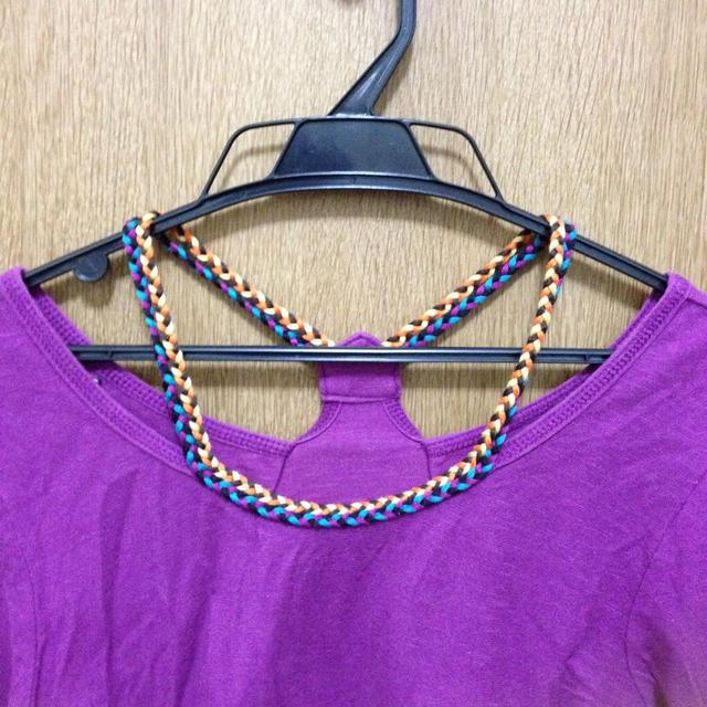 カラフルな編み肩紐が可愛いカットソー♪ レディースのトップス(Tシャツ(長袖/七分))の商品写真