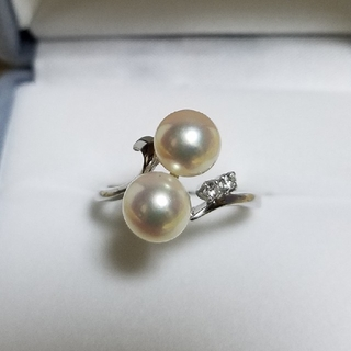 ミキモト(MIKIMOTO)のミキモト あこや真珠/パール7.1と7.2ミリ K14WG ダイヤモンド リング(リング(指輪))