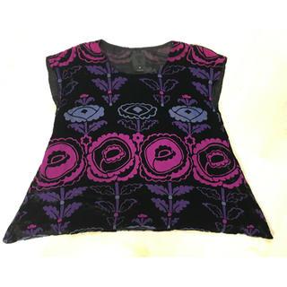 アナスイ(ANNA SUI)のANNA SUI アナスイ 半袖トップス レディース 花柄 チュニック 黒 紫(Tシャツ(半袖/袖なし))