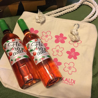 カルディ(KALDI)のカルディ    さくらバッグとワイン2本(ワイン)