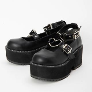 アンクルージュ(Ank Rouge)の期間限定値下げ♡ankrouge ハートバックルシューズ 黒 美品(ローファー/革靴)