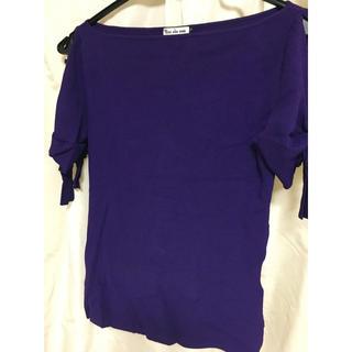 ハンアンスン(HAN AHN SOON)のHAN AHN SOON カットソー 袖リボン 紫 パープル ハンアスン(カットソー(半袖/袖なし))