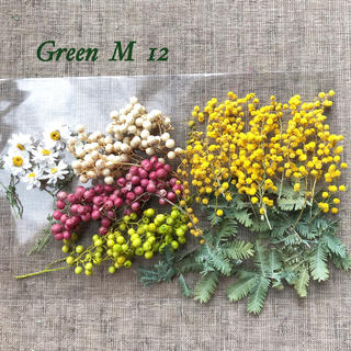 ペッパーベリー3色とミモザのドライフラワーと花かんざしセット(ドライフラワー)