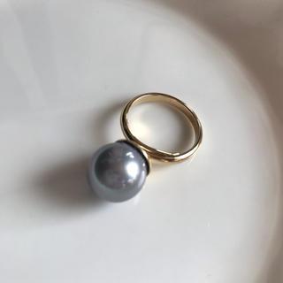 大玉 12mm シェルパール リング(貝パール  指輪)グレー(リング(指輪))